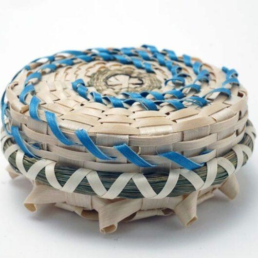Butch Jacobs blue spiral flat basket