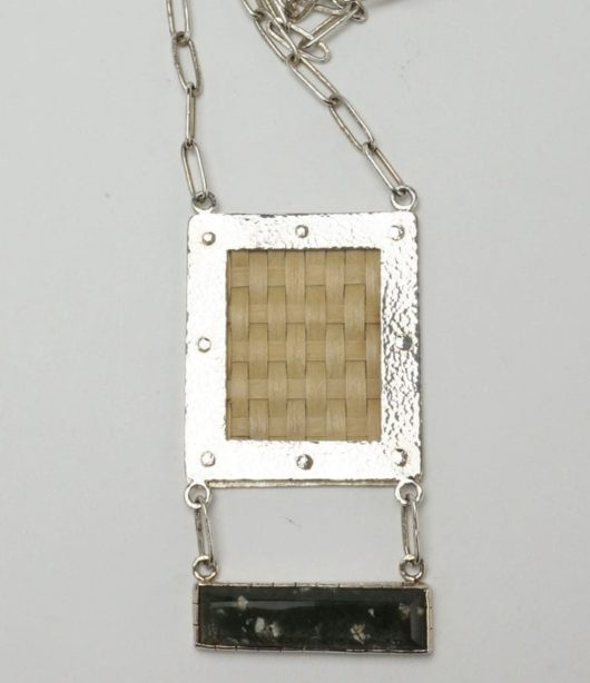Decontie & Brown silver necklace with basket weave and rhyolite