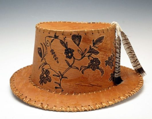 Gina Brooks etched birch bark hat