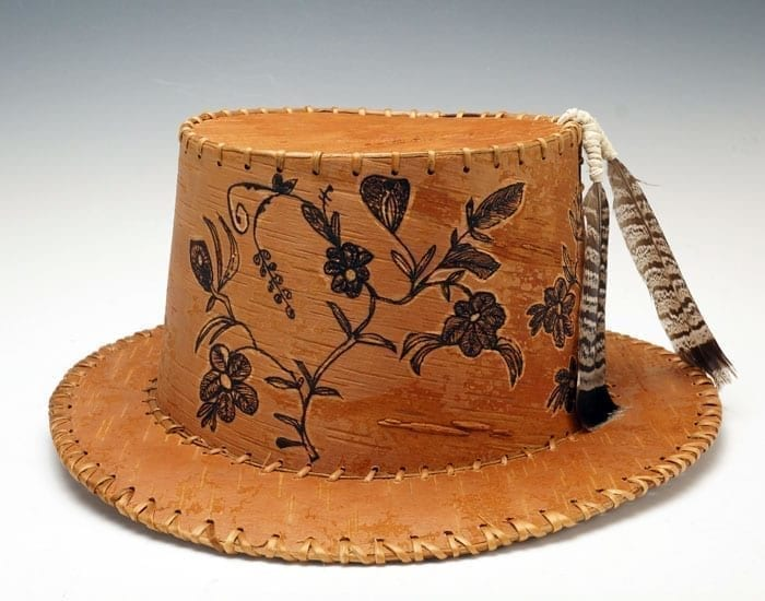 Gina Brooks etched birch bark hat