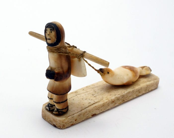 vintage Eskimo ivory seal hunter