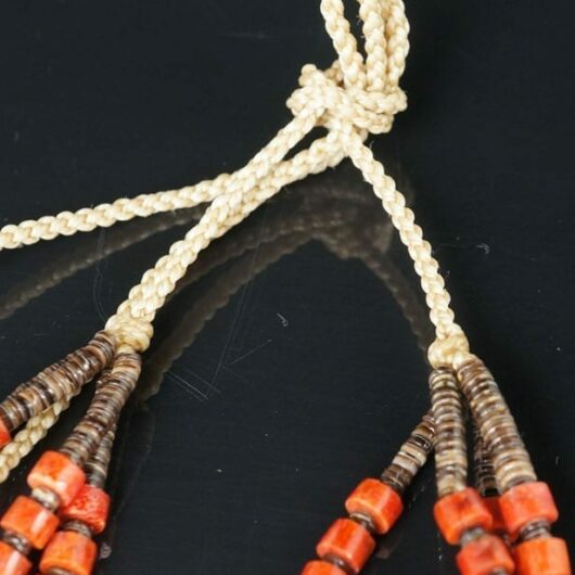 Harvey Abeyta Six Strand Coral Pen Shell Necklace