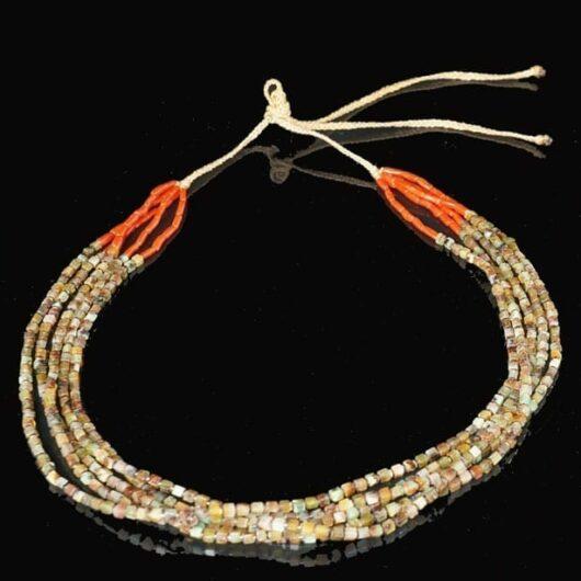 Priscilla Nieto Five Strand Russian Agate - Mediterranean Coral Necklace