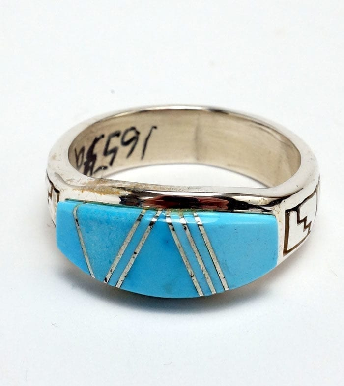 Earl Plummer Natural Turquoise Ring with Rug Designs Online