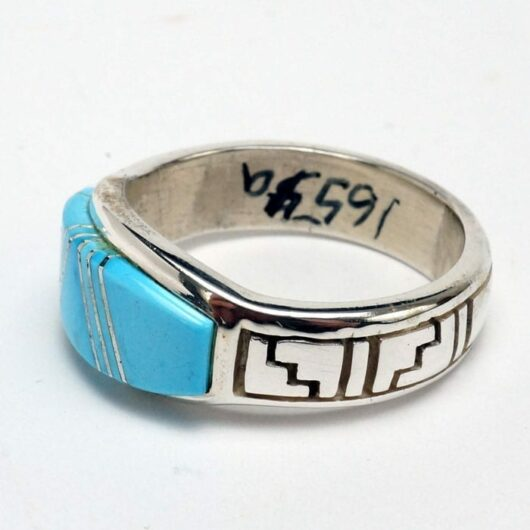 Earl Plummer Natural Turquoise Ring with Rug Designs
