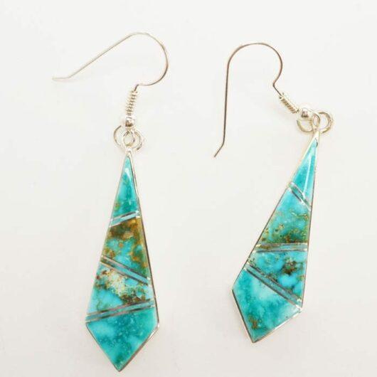 Earl Plummer inlaid Kingman turquoise earrings