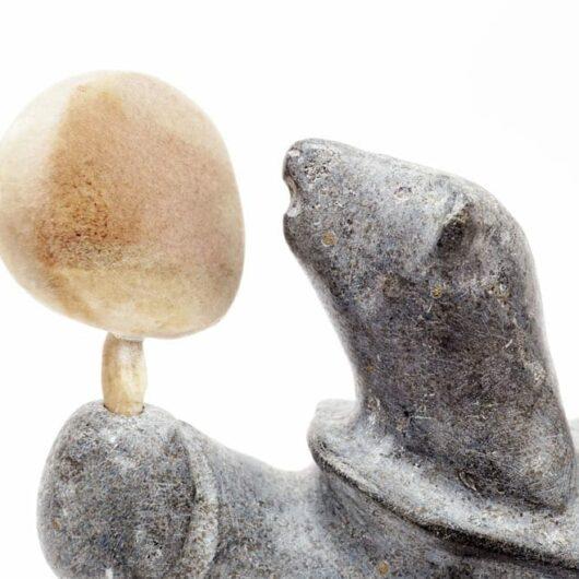 Inuit Sculpture Bear Transformation Drummer
