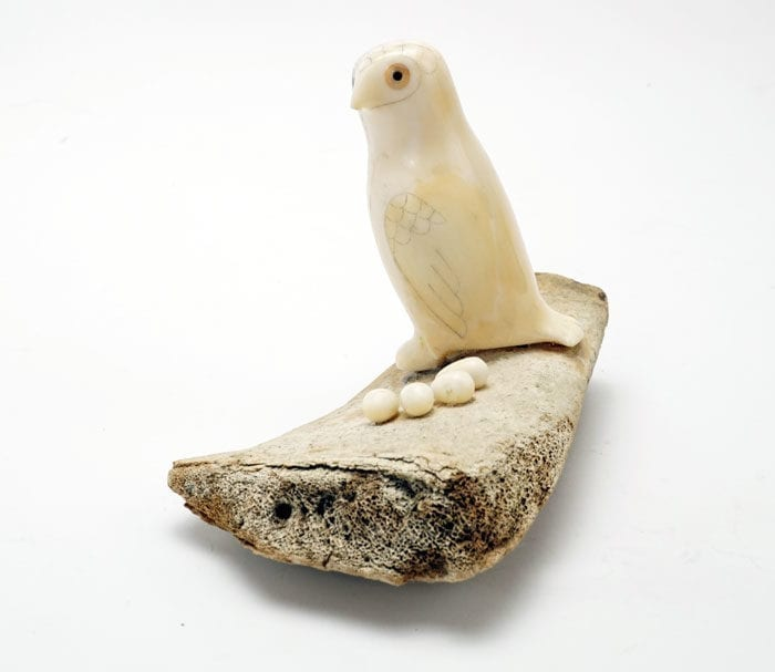 Vintage Eskimo Scrimshaw Owl