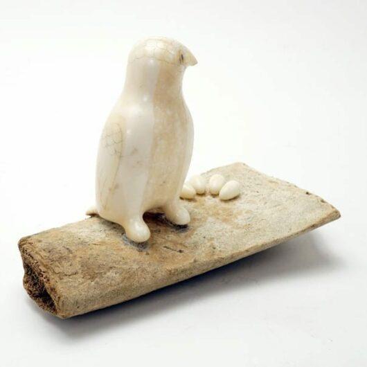 Buy Vintage Eskimo Scrimshaw Owl on Bone Base