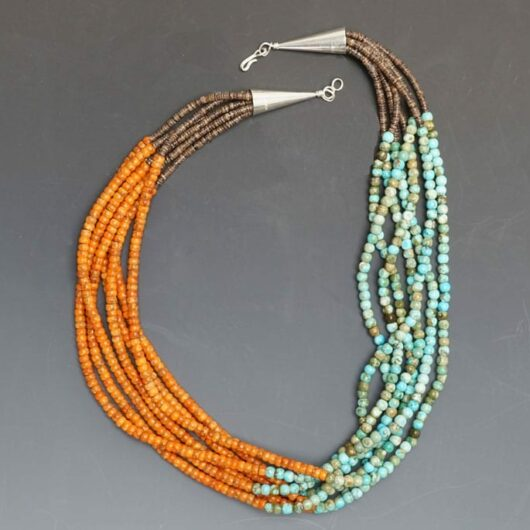 Deanna Tenorio Seven Strand Turquoise-Apple Coral Necklace