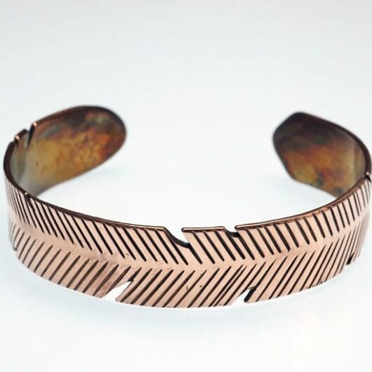 Decontie-Brown copper feather bracelet