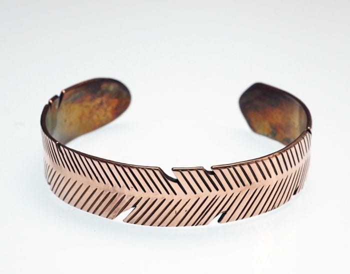Decontie-Brown copper feather bracelet