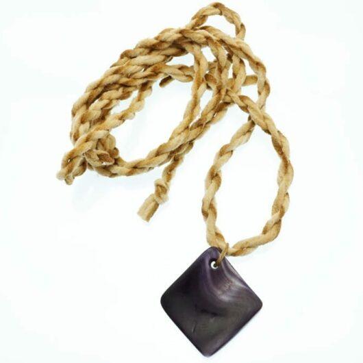 Elizabeth James-Perry Wampum Hand Sculpted Deep Purple Necklace