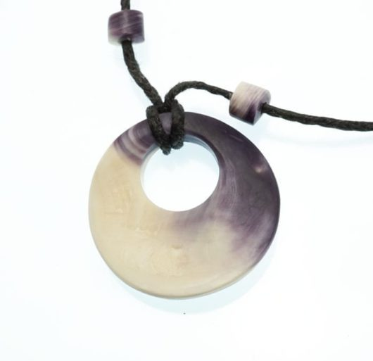 Elizabeth James-Perry Hand Sculpted Wampum Disc Necklace