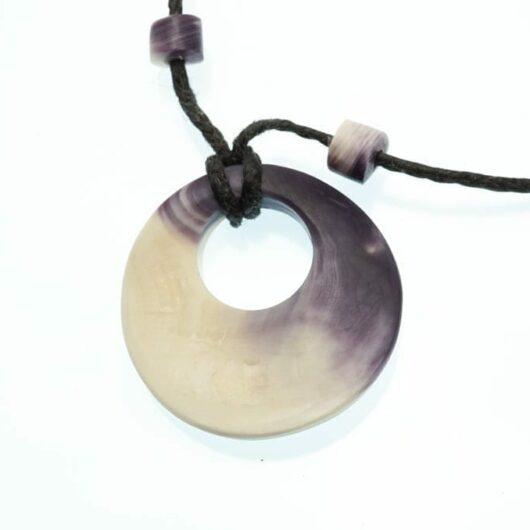Elizabeth James-Perry Hand Sculpted Wampum Disc Necklace