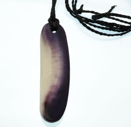 Elizabeth James-Perry Hand Sculpted Elongated Oval Wampum Necklace