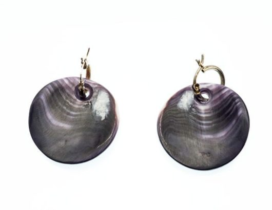 Elizabeth James-Perry Hand Sculpted Deep Purple Wampum Earrings