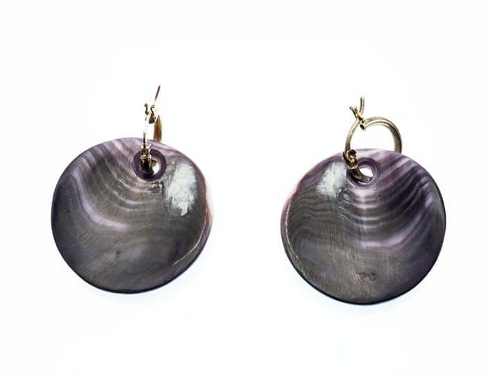 Elizabeth James-Perry Hand Sculpted Deep Purple Wampum Earrings