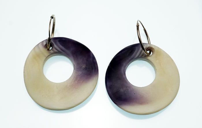 Elizabeth James-Perry circular wampum earrings