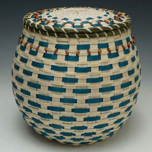 Frances Soctomah covered urn basket