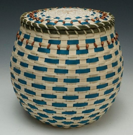 Frances Soctomah covered urn basket