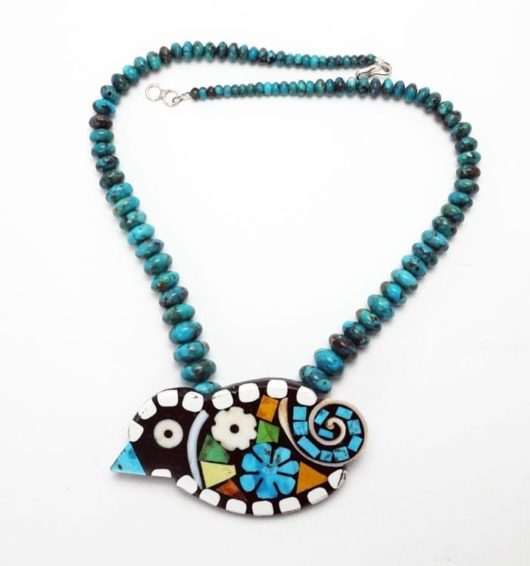 Mary Tafoya rolled turquoise bird necklace