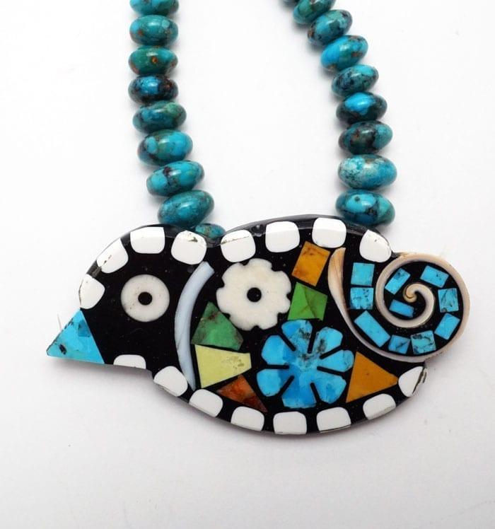 Mary Tafoya rolled turquoise bird necklace