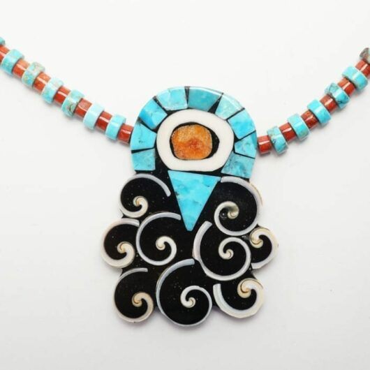 Mary Tafoya Turquoise Apple Coral Shell Necklace