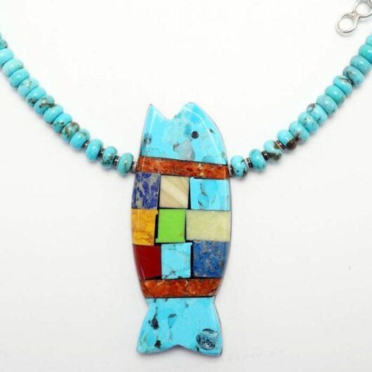 Mary Tafoya Turquoise Rolled Turquoise Bead Fish Necklace