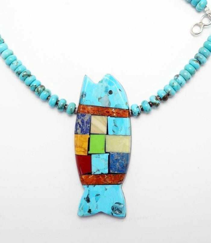 Mary Tafoya Turquoise Rolled Turquoise Bead Fish Necklace