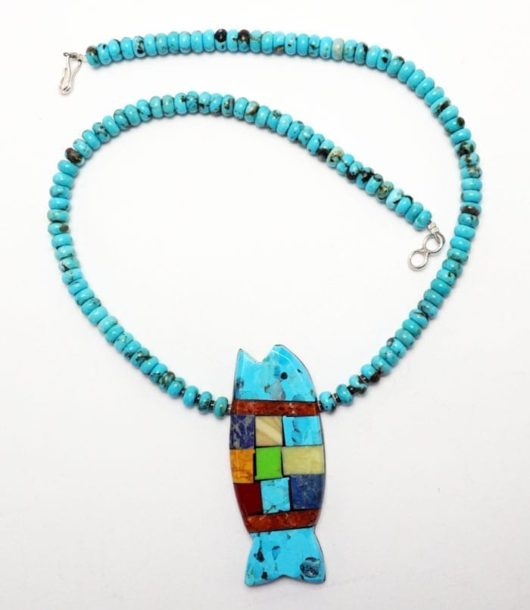 Mary Tafoya Rolled Turquoise Bead Fish Necklace