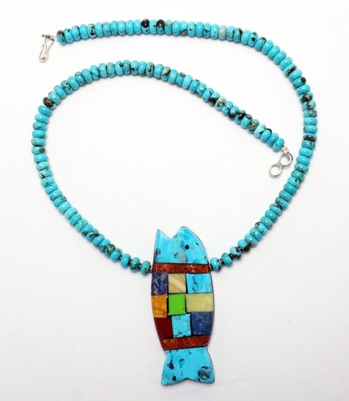 Mary Tafoya Rolled Turquoise Bead Fish Necklace