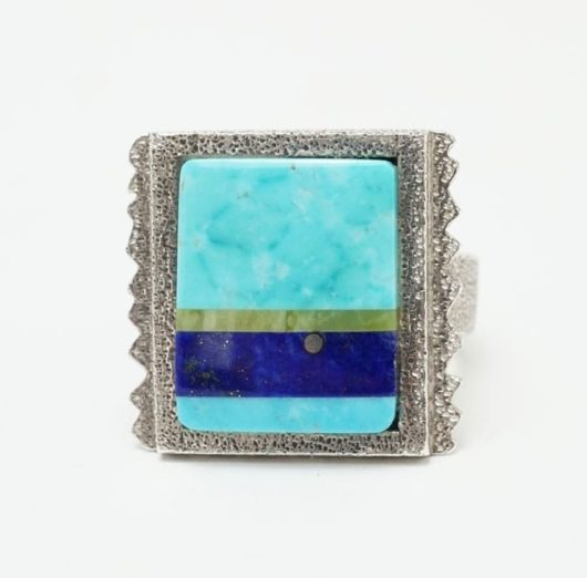 Decontie-Brown Square Top Inlaid Ring