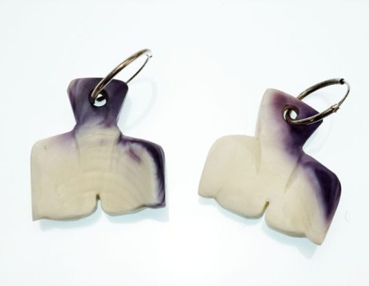 Elizabeth James-Perry Hand Sculpted Wampum Whale Tail Earrings