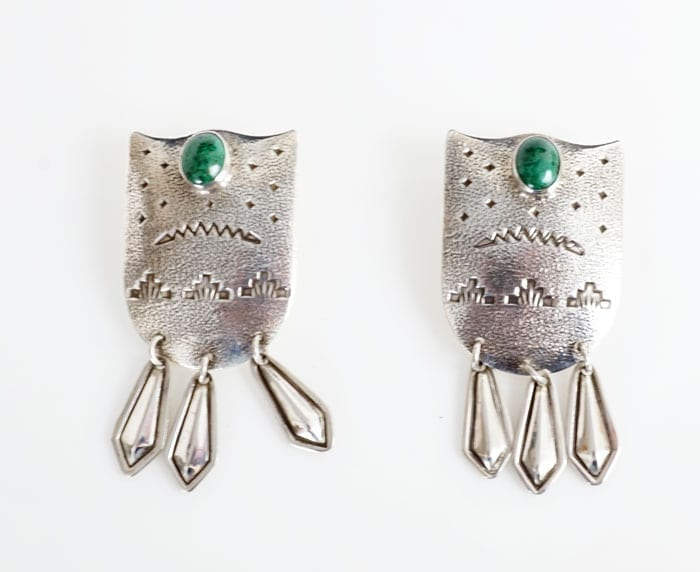 sterling silver stamped chrysocolla earrings