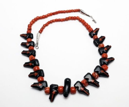 Jet-Coral Zuni Bear Necklace