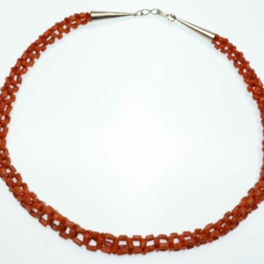Vintage coral cubic weave necklace