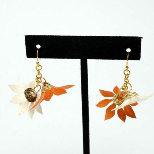 Geo Neptune Burnt Orange Flower Basket earrings