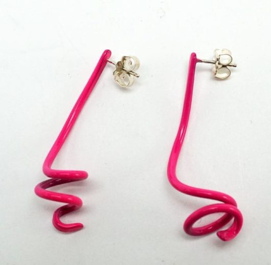 "Margaret Jacobs Pink Swirl Earrings Margaret Jacobs makes boldly colored jewelry with a contemporary flair. These are post earrings made from powder-coated steel. 1 3/4"" high"