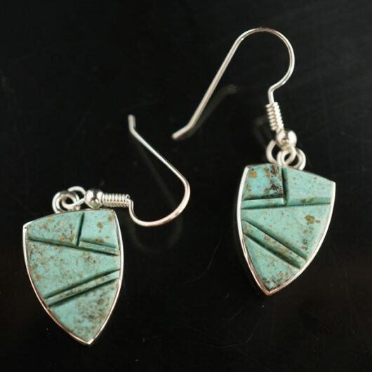 Earl Plummer Sterling Silver Turquoise Inlay Earrings