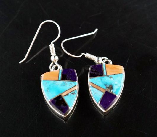 Earl Plummer Sterling Silver Multi-material Shield Earrings
