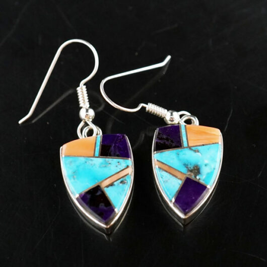 Earl Plummer Sterling Silver Multi-material Shield Earrings