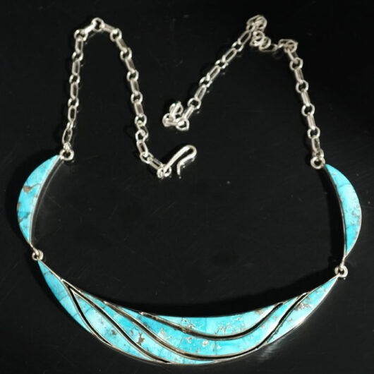 Earl Plummer sterling silver turquoise inlay wave necklace