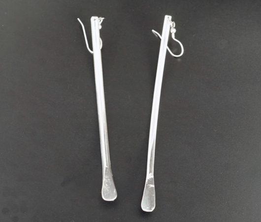 David Gaussoin Long Sterling Silver Dangle Earrings