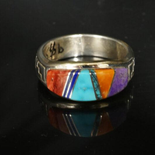 Earl Plummer Inlaid Sterling Silver Rug Design Ring