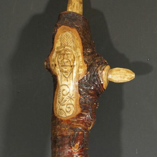Erik Sappier chip-carved unpainted root club