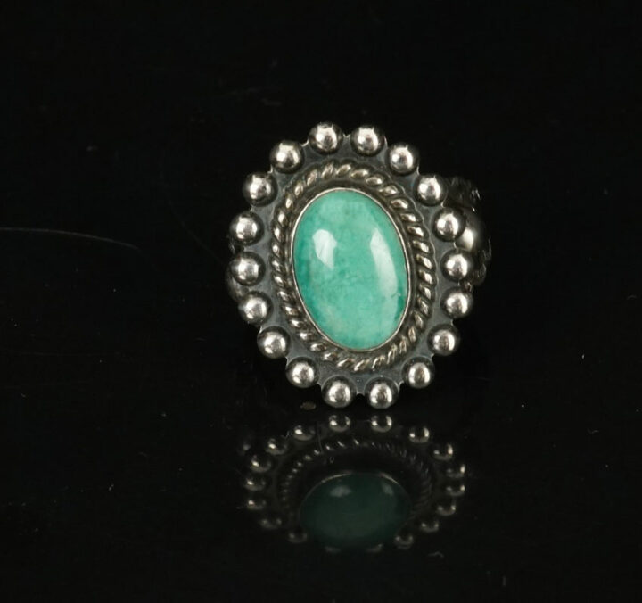Vintage Fred Harvey Style Oval Turquoise Ring