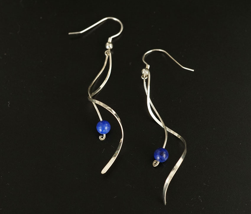 Jerry Gaussoin Curved Sterling Silver Earrings with Lapis Lazuli Beads