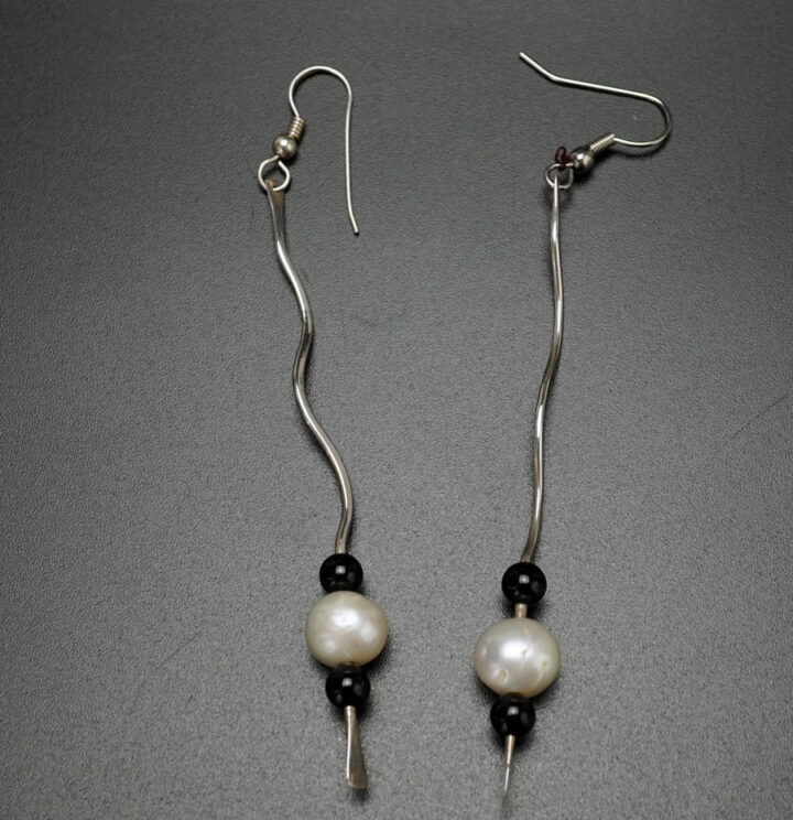 Jerry Gaussoin Curly Sterling Silver Pearl Earrings