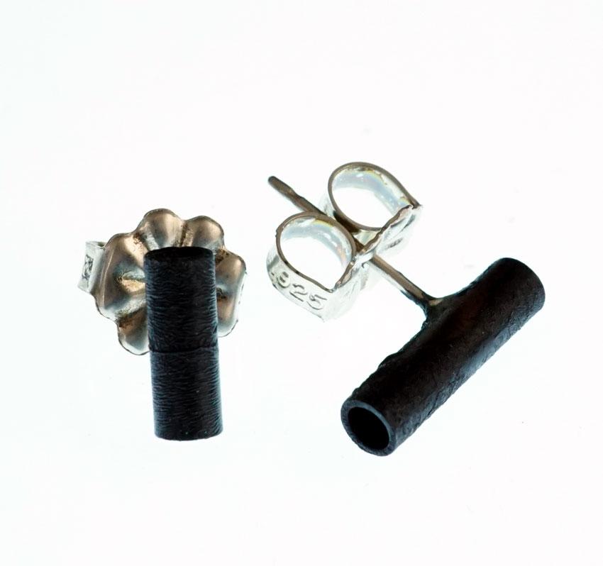 Margaret Jacobs Powder Coated Tubular Black Earrings